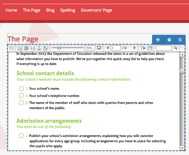 Embedding a readable document in School Jotter